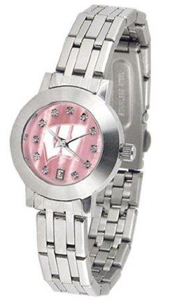University of Wisconsin Badgers Ladies MOP & Swarovski Crystal Watch by SunTime. $95.95. Date Display And Quartz Accurate Movement. Officially Licensed Wisconsin Badgers Ladies MOP & Swarovski Crystal Watch. Stainless Steel-Scratch Resistant Mineral Crystal. Links Make Watch Adjustable. Women. College ladies stainless steel watch with mother of pearl face and Swarovski crystals. Watch dial is presented in a sleek, stainless steel case and bracelet. Features date ...
