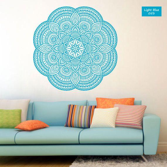 Mandala wall decal Mandala vinyl decal Mandala wall art Yoga studio Bedroom flower decor Boho indian design Mandala sticker #025