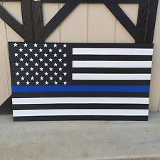 "Wood Hand Painted USA American ""Thin Blue Line"" Police Flag"