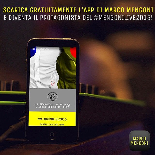 mengonimarcoofficial 28.04.2015 Ora negli store iTunes e Google Play la nuova versione dell'App di Marco Mengoni! Scaricala gratuitamente o aggiornala subito e potrai vivere un'esperienza esclusiva durante il concerto. #Mengonilive2015 > - 7  Staff