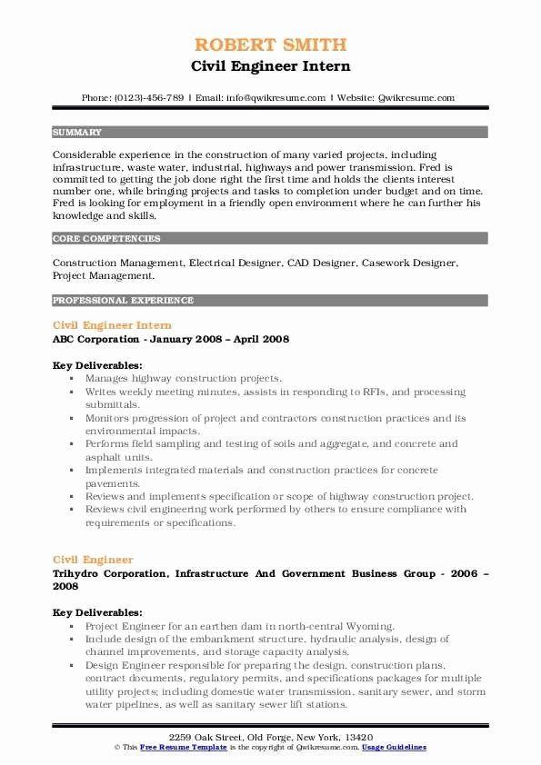 Civil Engineering Internship Resume Best Of Civil Engineer Resume Samples In 2020 Job Resume Samples Assistant Jobs Internship Resume