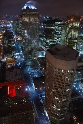Downtown Calgary night lights.