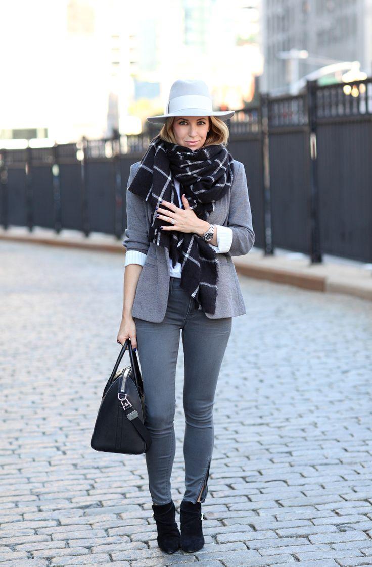 On the Go via BrooklynBlonde.com / @brooklynblonde   [Pin on Pinterest] Blazer: Express c/o   Jeans: Express c/o   Scarf: Zara   Hat: Hat Attack   Boots: Saint Laurent   Tee: Vince   Handbag: Givenchy