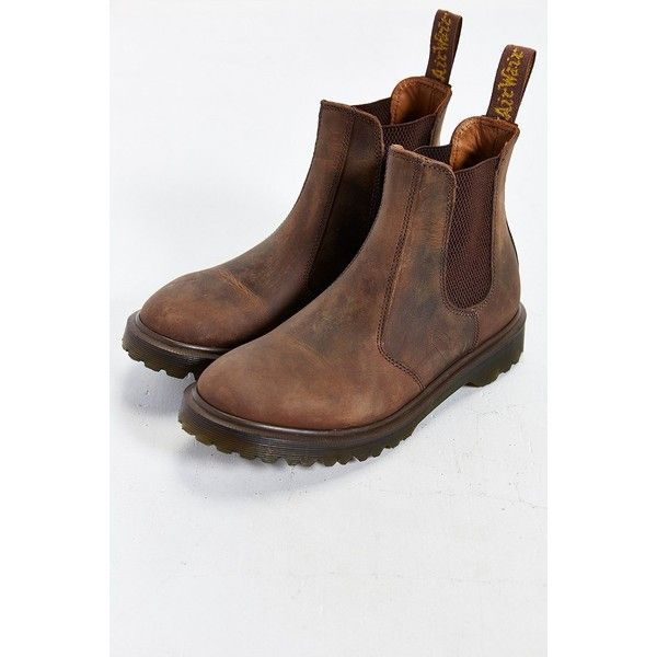 Dr. Martens 2976 Milled Chelsea Boot (180 CAD) ❤ liked on Polyvore featuring shoes, boots, brown, dr martens footwear, dr martens shoes, slipon shoes, traction shoes e stretchy boots