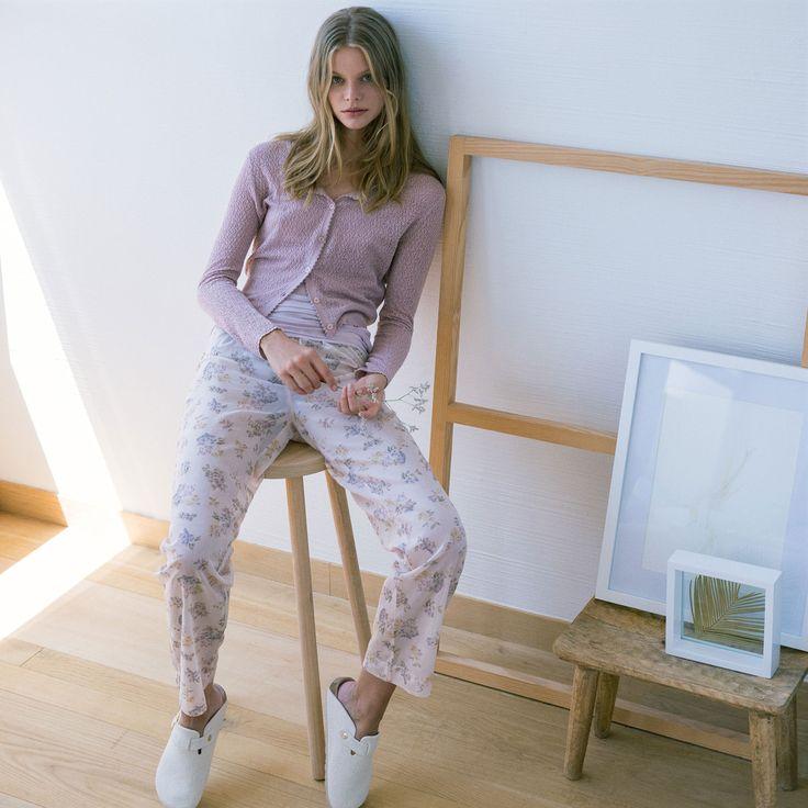 floral print cotton trousers