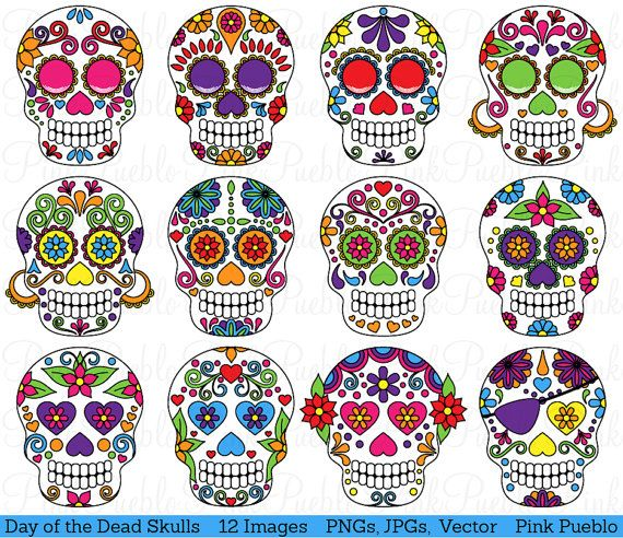 He encontrado este interesante anuncio de Etsy en https://www.etsy.com/es/listing/162405243/day-of-the-dead-skull-clipart-clip-art