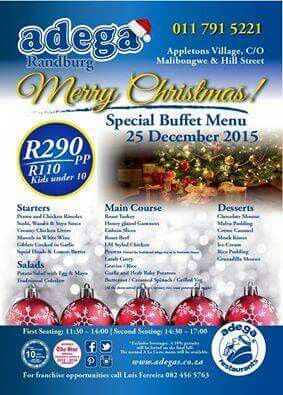 Christmas Day Buffet - come to Adega Randburg