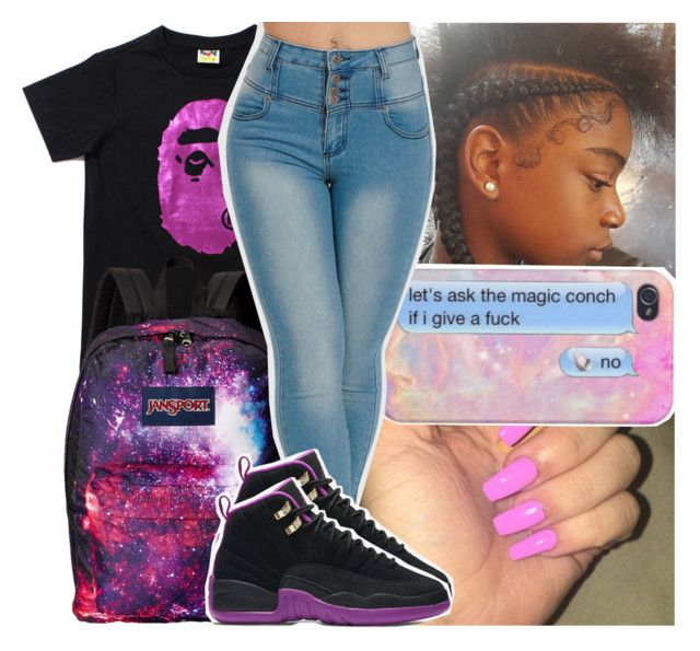 """""""not in a good mood"""" by daeethakidd ❤ liked on Polyvore featuring JanSport and NIKE"""