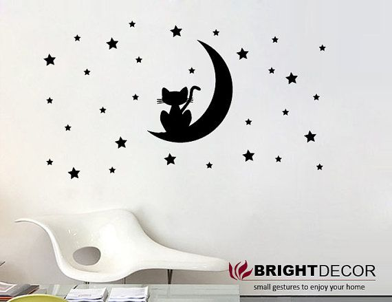Cat On The Moon With Star Wall Sticker Wall Decal Nursery And Children Room Stickers