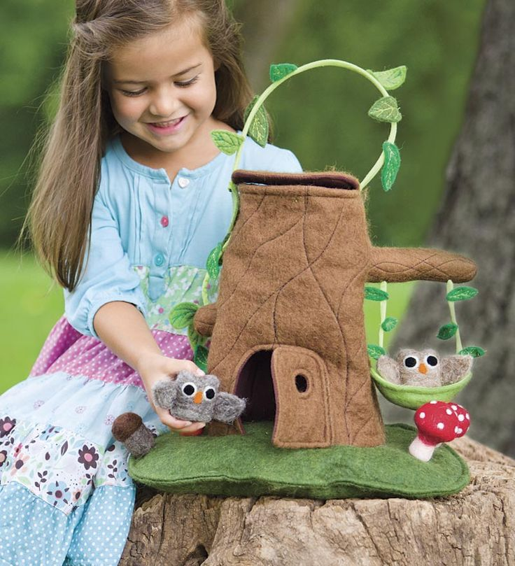 Felt Tree Stump Cottage Carrier with Owls  Magic Cabin www.magiccabin.com