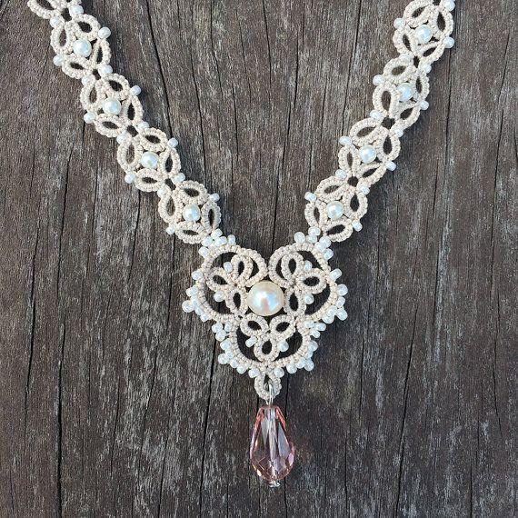 Tatting lace necklace pdf pattern Somewhere In Time by TheKimAndI