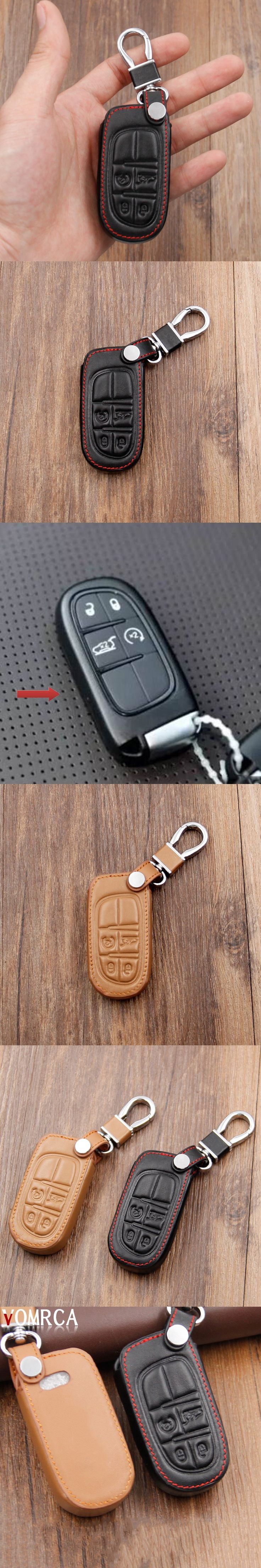Genuine Leather Car Keychain Key Case Cover For Fiat Jeep Grand Cherokee Compass Patriot Dodge Journey Chrysler 300C Car Key