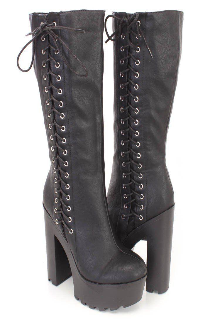 9507ac41aa6 Gothic Punk Rock Side Lace-up Lug Sole Chunky High Heel Platform ...