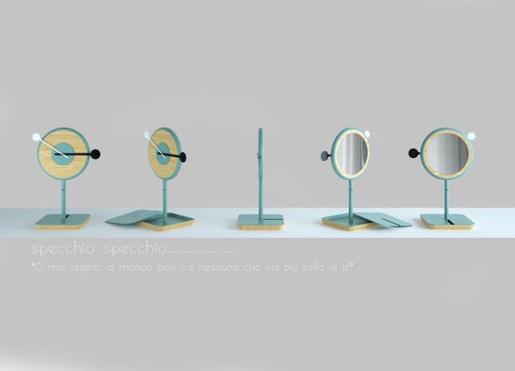 Specchio-specchio, è un progetto che nasce pensando a quanti, ma soprattutto alle donne, che  davanti ad uno specchio, alla ricerca della bellezza ideale entrano in un mondo fantastico, dimenticando tutto.  E' uno specchio per truccarsi, e non solo, con orologio integrato che ti aiuta a non perdere la cognizione del tempo e ad essere sempre puntuale agli appuntamenti.