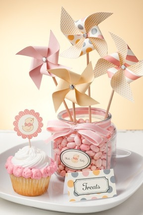 like the colors and pinwheel centerpiece for first bday ideas!