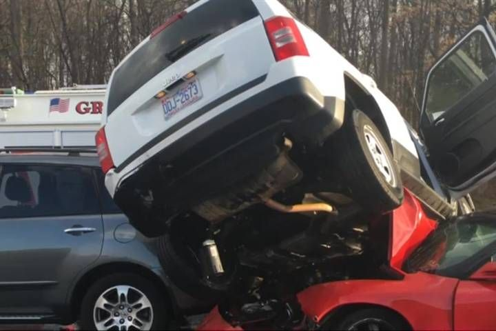 03/15/2016 - More than 130 cars involved in wreck on I-40 in North Carolina - Investigators said high speed, following too closely and a failure by drivers to pay attention to the road conditions were responsible.