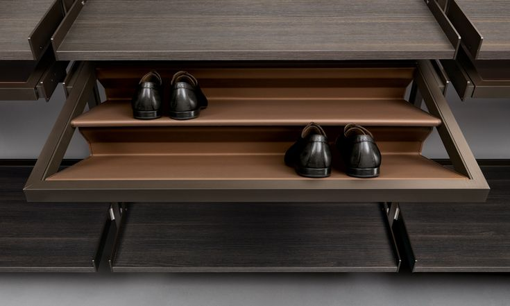 """Zenit"" Wardrobe with shoe rack in regenerated beaver leather finishing. (by Rimadesio)"