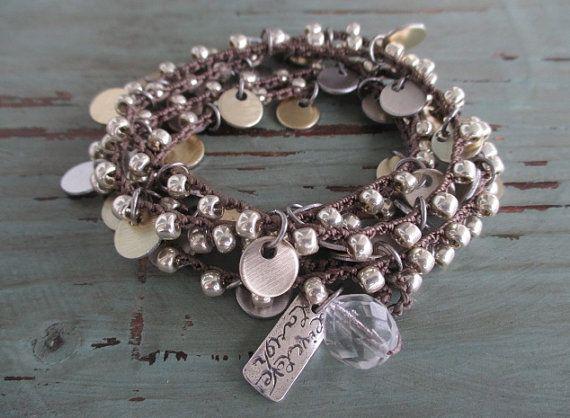 Silver crochet wrap bracelet necklace - Shimmy - Live Love Laugh long wrap charm bracelet crocheted jewelry boho by slashKnots