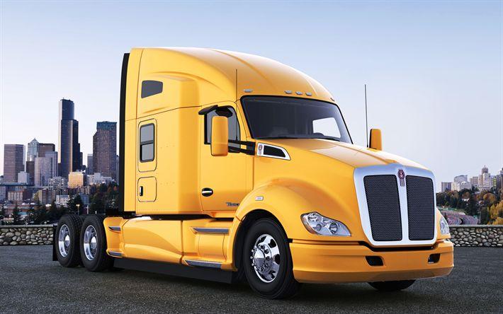 Lataa kuva Kenworth T-680, kuorma-auto, Amerikkalaiset kuorma-autot, keltainen mökki