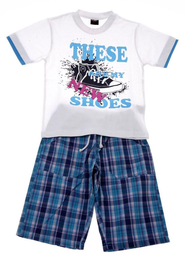 Παιδικά ρούχα AZshop.gr - Funky παιδικό σετ μπλούζα-παντελόνι βερμούδα «New Shoes» €19,90