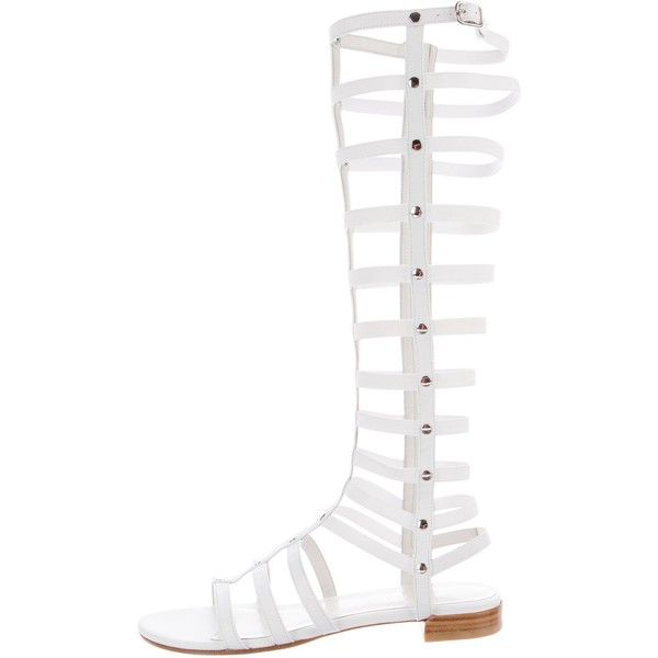 Pre-owned Stuart Weitzman Leather Gladiator Sandals ($245) ❤ liked on Polyvore featuring shoes, sandals, white, elastic-strap sandals, leather gladiator sandals, zipper sandals, gladiator sandals shoes and white gladiator sandals