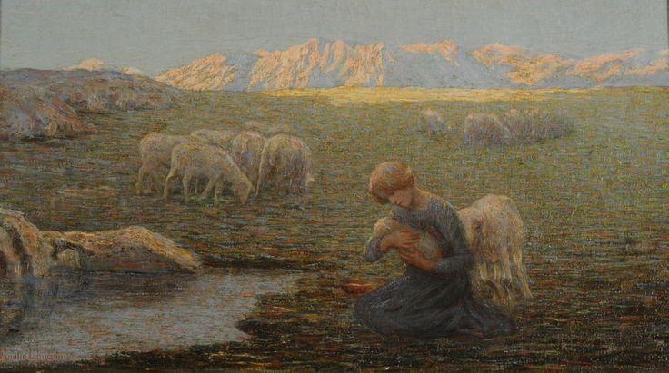 "  Emilio Longoni   ""La oveja enferma""   1902   Óleo sobre tela   45 x 79 cm. - Marco:62,5 x 97,5 x 4 x 10 cm.   Inv. 6146   http://www.mnba.gob.ar/coleccion/obra/6146  "