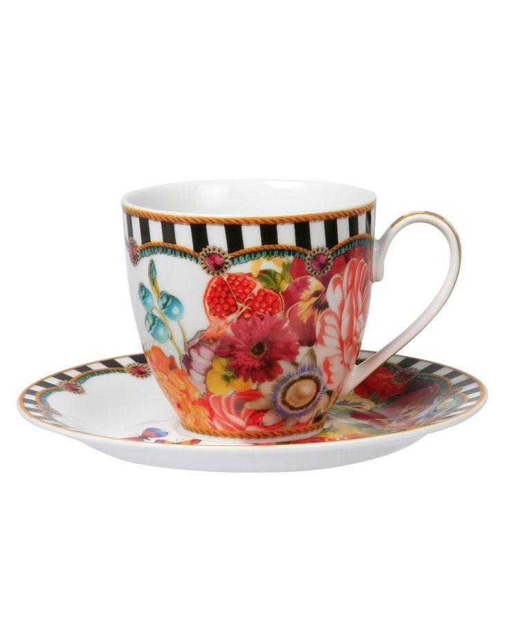 Tea cup & saucer stripes 150 ML