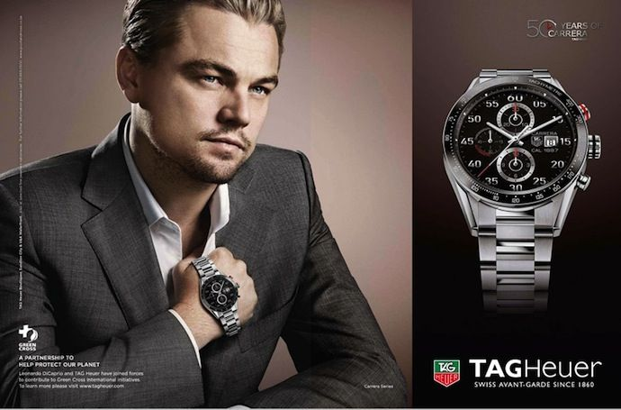 50 years of carrera leonardo dicaprio for tag heuer glamour boys inc logo 690 455 for Celebrity sextortion watch