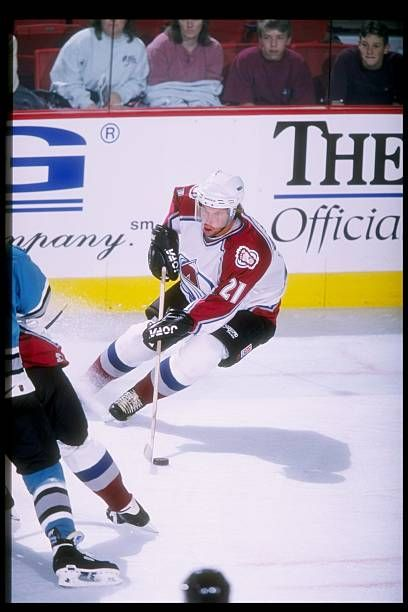 Center Peter Forsberg of the Colorado Avalanche in action during a game against the San Jose Sharks at McNichols Arena in Denver Colorado The Sharks...