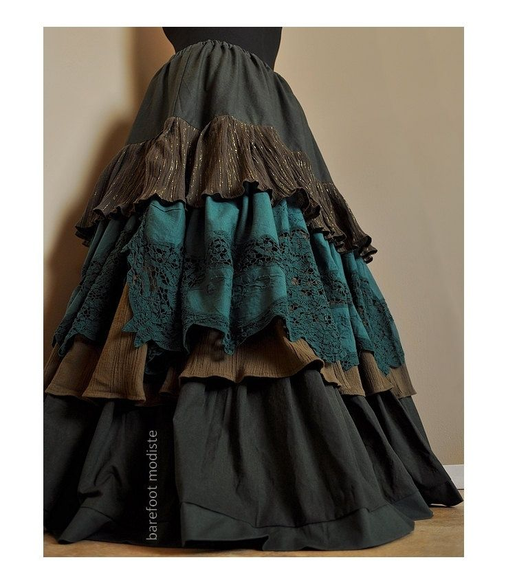 Way Through the Woods - Long Ruffled Bohemian skirt,  Classic Elegant Gypsy Skirt, Rich Earthy Greens, Ideal for sizes - XL to 2X