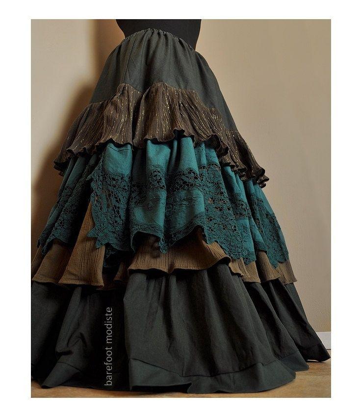 #inlove Way Through the Woods - Long Ruffled Bohemian skirt, Rich Earthy Greens…