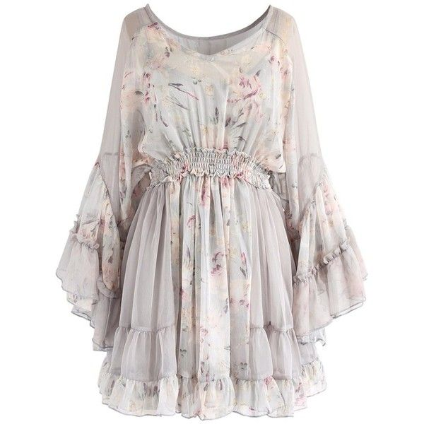 Chicwish Autumn Romance Watercolor Flare Sleeves Dress ($47) ❤ liked on Polyvore featuring dresses, purple, short slip, flared sleeve dress, watercolor print dresses, short bell sleeve dress and slip dress
