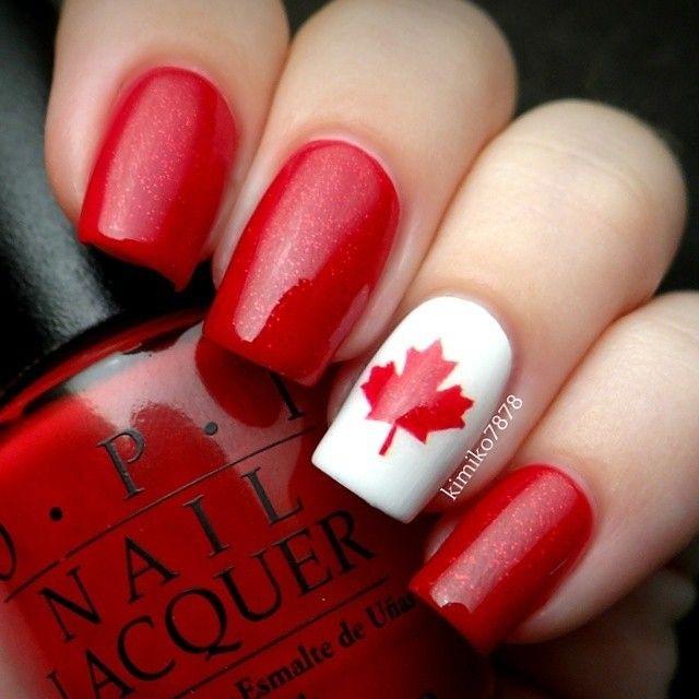 Uñas otoñeales, colores bandera de Japon-blanco y rojo Autumn Nails, Japan flag colors white and red