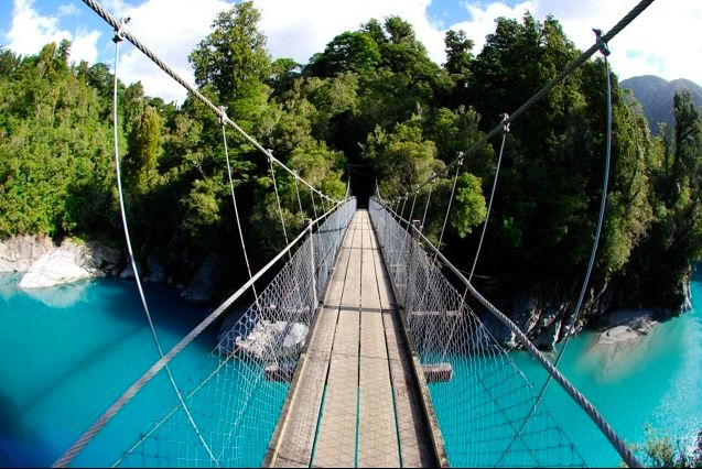 New Zealand's south island: Hokitika National Park... this is as close to bungie jumping and sky diving I could (maybe) do.