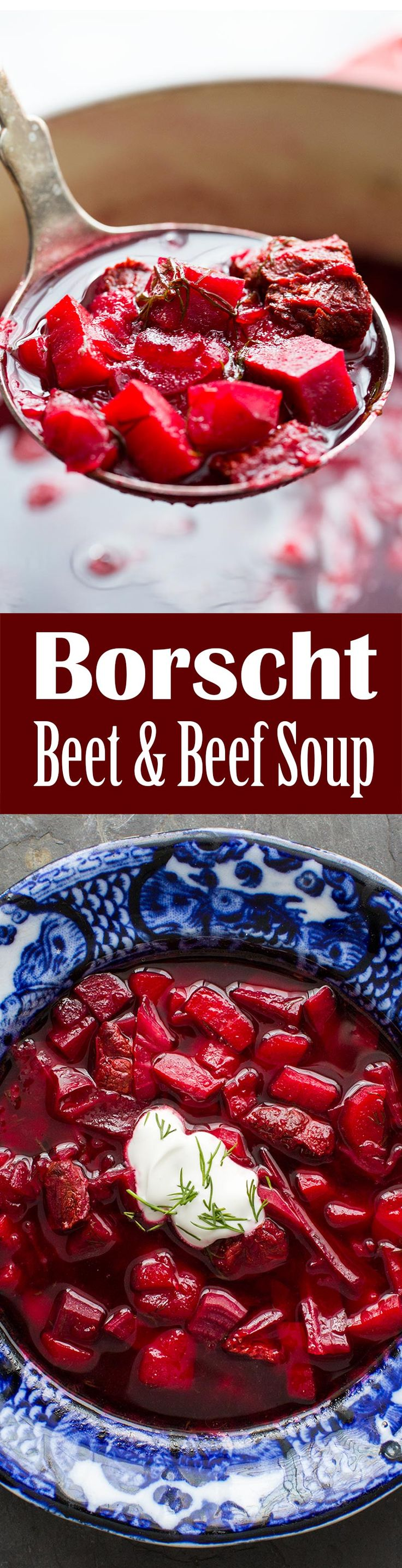 Delicious Borscht Soup! made with fresh red beets, beef shank, onions, carrots, potatoes, cabbage, dill, and sour cream.