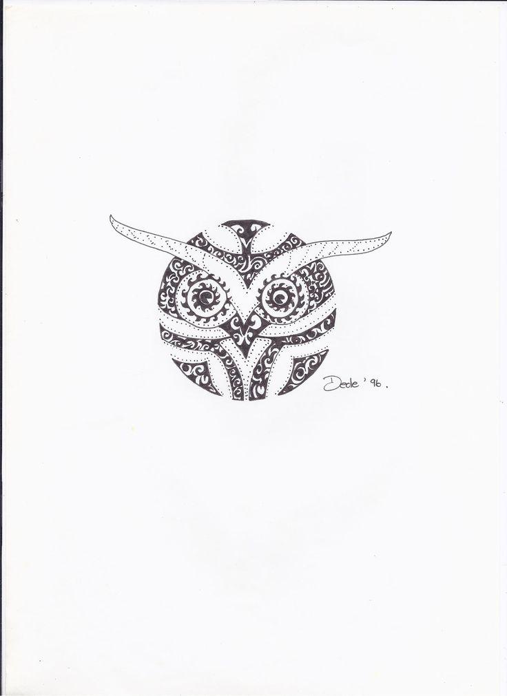 m. inky owl in rotring black pen