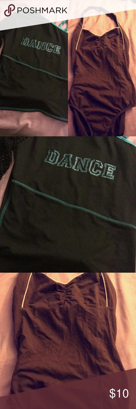 Dance Bundle! brown and pink leotard & Dance top Brown and pink size large halter leotard. Leo dance wear leotard with open back. Worn a couple of times. One Shoulder with fish net sleeve dance top black and turquoise. Size extra large. Never worn. Leo's Dance wear Other