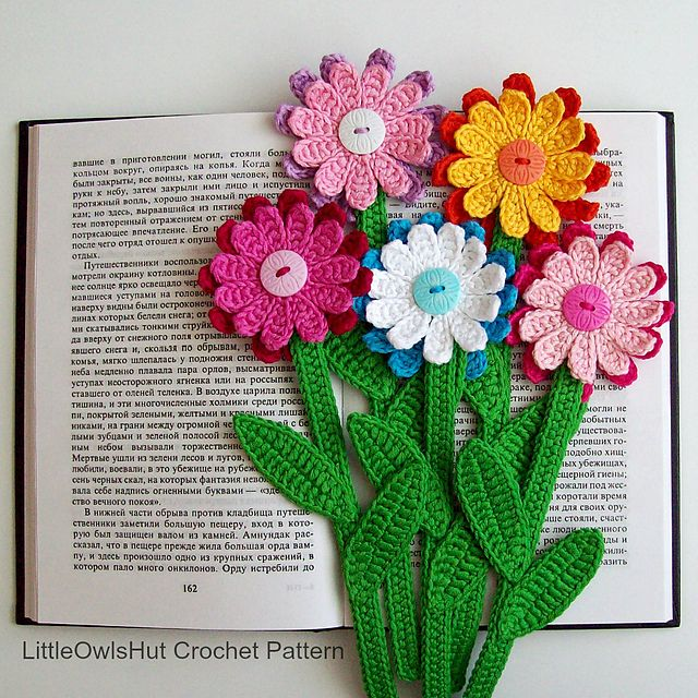 Ravelry: 068 Gerber Flower Bookmark pattern by LittleOwlsHut