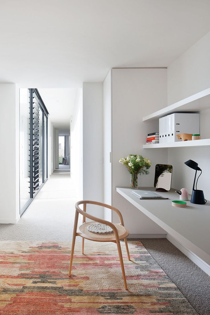 This small home office is included in the upstairs hallway of this home in Australia.