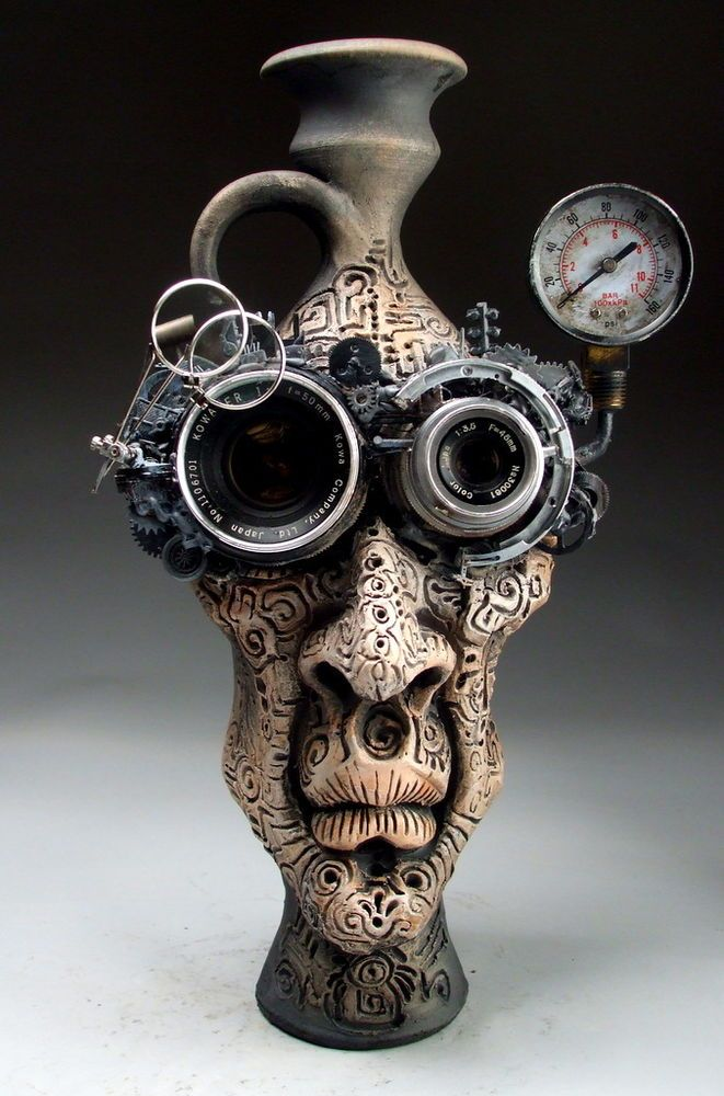 Steampunk goggles face jug folk art sculpture pottery by ...