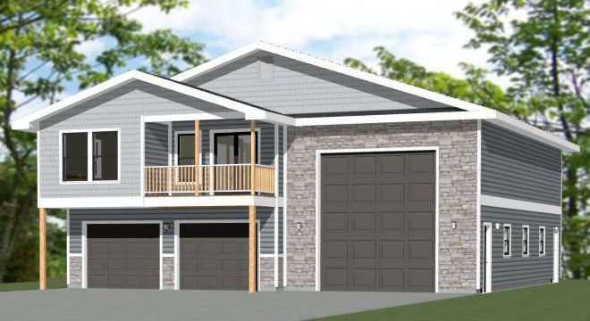 44x48 Apartment 44x48h1h 2 Bedroom 2 5 Bath Apartment With 2 Car Garage Rv Bus Or Big R Garage Door Design Garage Plans With Loft Building Plans House