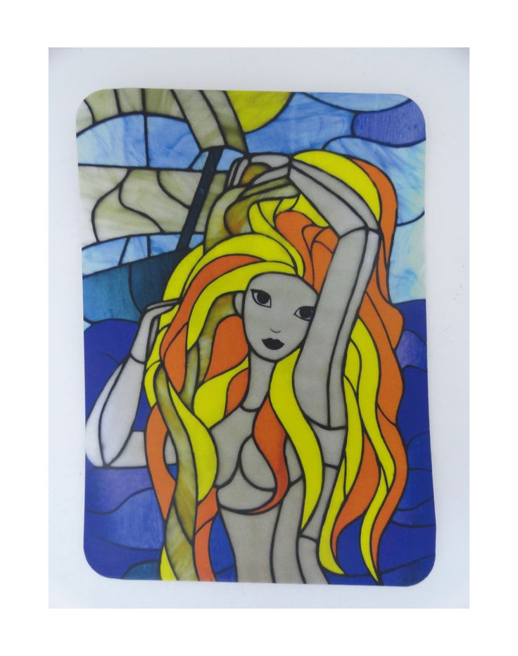 """Fairy Magnet """"Marmaid"""". Photos of the classic stained glass in the Tiffany technique https://www.etsy.com/ru/listing/263706013/fairy-magnet-marmaid-photos-of-the?ref=shop_home_active_5 #stainedglass #marmaid #harrypotter"""