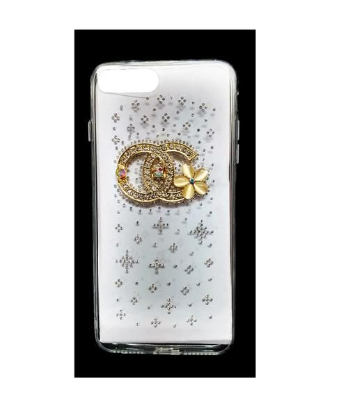 """Fancy Stone Studded Transparent Back Cover For Apple iPhone 7 (4.7"""") Design 1"""