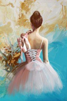 En este cuadro veo una bailarina hecha con la técnica seca de pastel. Me encanta el colorido y como ha conseguido el realismo y las tonalidades de la piel, es precioso.