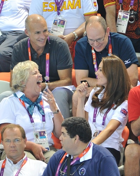 Prince Albert II of Monaco, Catherine, Duchess of Cambridge and official team GB ambassador Robin Cousins watch Synchronised Swimming on Day 13 of the London 2012 Olympic Games