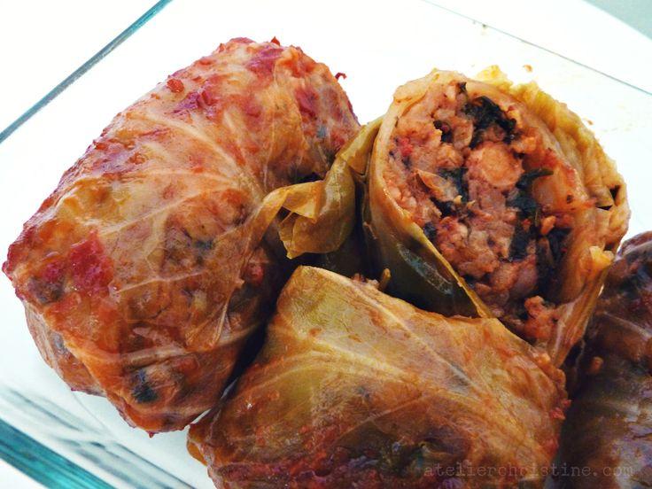 Stuffed Cabbage Rolls with Legumes, Spelt + Rice | Kaghampi Pasuts (Bahki) Dolma.  Armenian #vegan recipe, via @atelierchris.