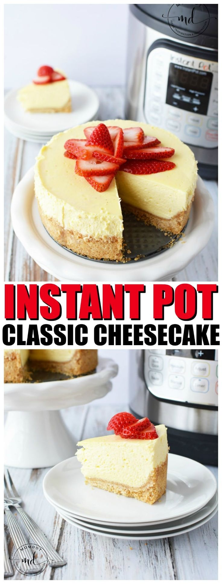 Instant Pot Cheesecake Recipe topped with Strawberries is an easy, homemade, and classic cheesecake. Fire up that pressure cooker!