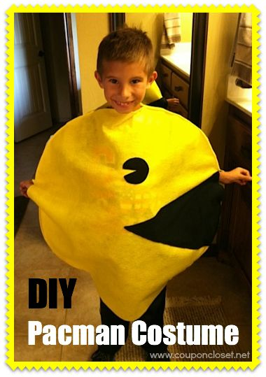 DIY Pac man Costume, This was so easy to make. Buy 2 yards yellow felt, 1 yard black felt and hot glue it together leaving room for head arms and legs. That's what I did.