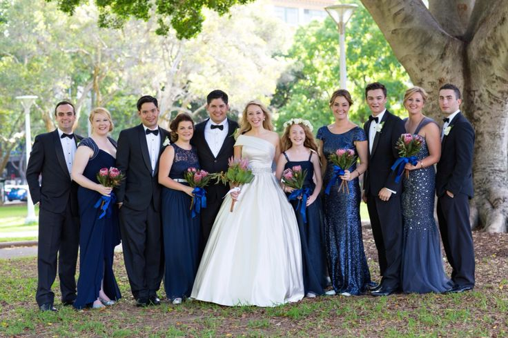 Sydney Wedding Mismatched bridesmaids, navy and silver bridal party, Photography: Milque Photography Bridesmaids dresses: J'adore, Forever New. Junior Bridesmaid: made by Bride's mother