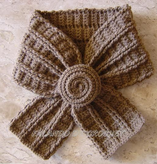 Crochet scarf ♥LCP-MRS♥ with diagrams. --- FALANDO DE CROCHET: GOLINHA DE CROCHET - CASTOR